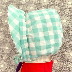 Vintage Gingham Easter Baby Bonnet Sea Foam Green